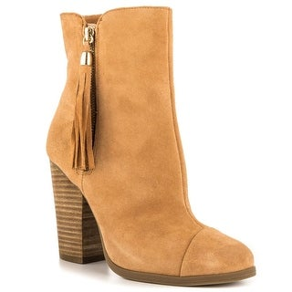 Just Fab Womens Griffin Leather Closed Toe Ankle Fashion Boots, Camel, Size 10.0
