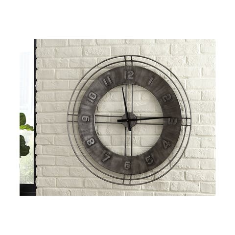Ashley A8010068 Metal Antique Gray Finish Ana Sofia Wall Clock