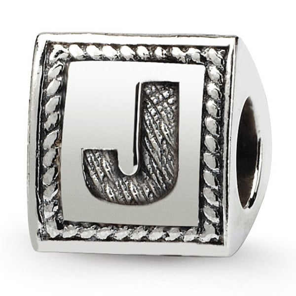 Sterling Silver Reflections Letter J Triangle Block Bead (4mm Diameter Hole)
