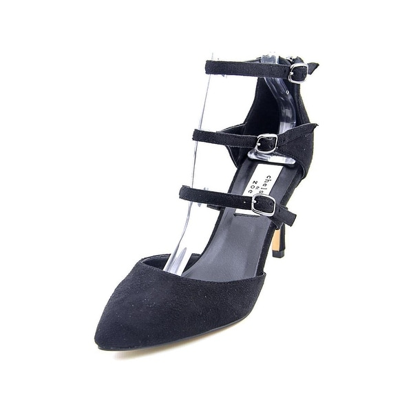 Chelsea & Zoe Womens Karri Suede Closed Toe Ankle Strap D-orsay, Black, Size 9.0