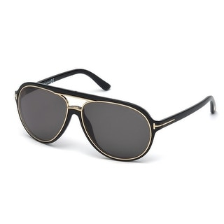 Tom Ford Sergio TF379 01A Black Gold/Grey Unisex Aviator Sunglasses - Black/gold - 60mm-14mm-140mm
