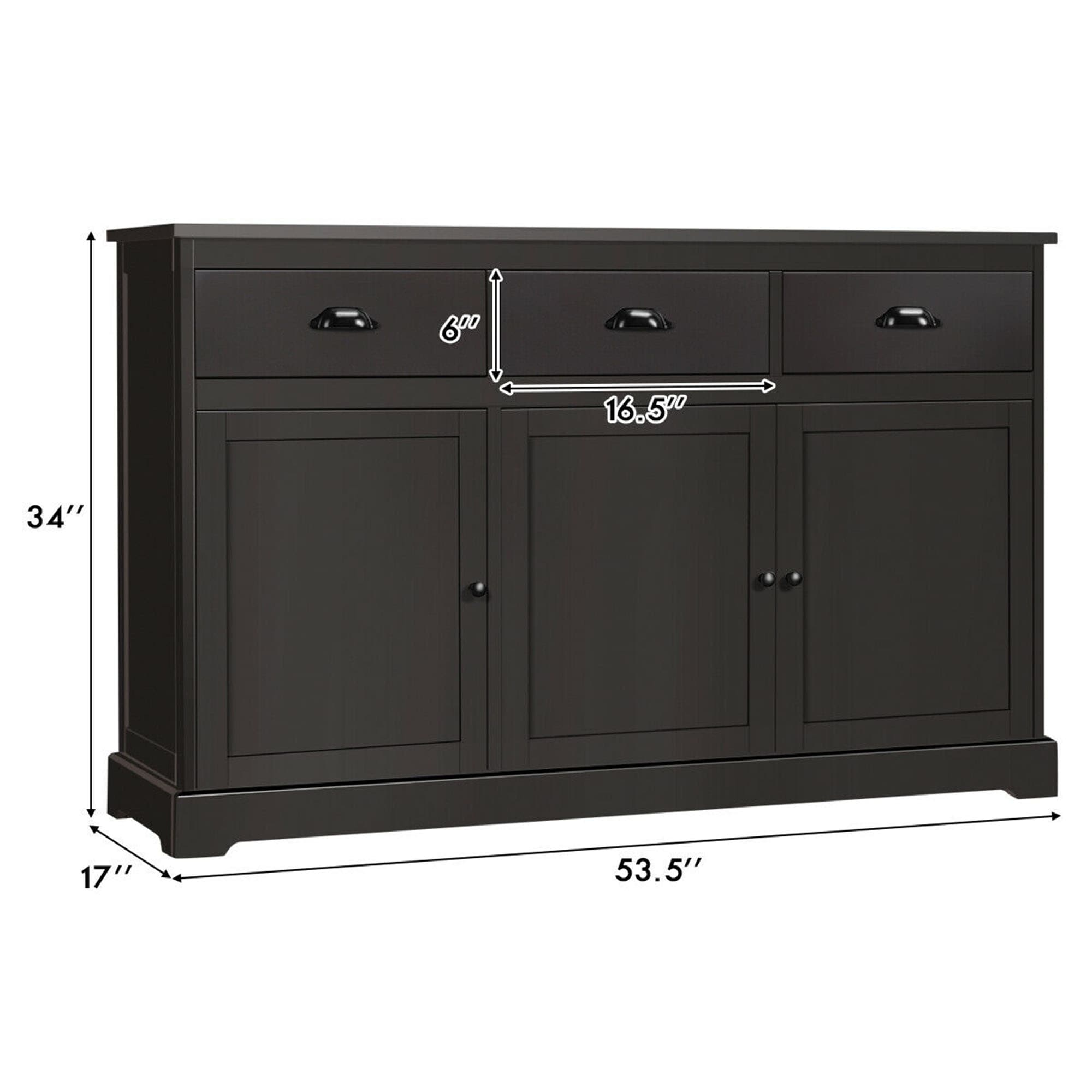 Picture of: Shop Gymax 3 Drawers Sideboard Buffet Cabinet Console Table Kitchen Storage Overstock 32343691