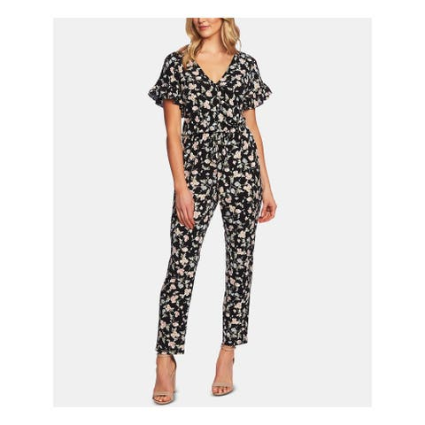 CECE Womens Black Floral Short Sleeve Straight leg Jumpsuit Size L