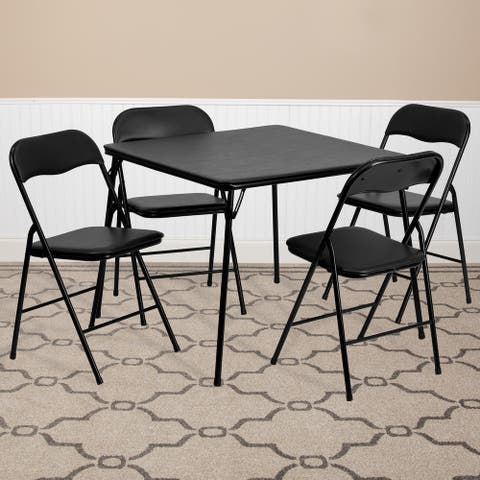 "5 Piece Folding Card Table and Chair Set with Upholstered Table Top - 33.5""W x 33.5""D x 27.75""H"