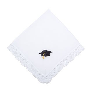 Hats Off Embroidered Graduation Cap Handkerchief with Crochet Lace