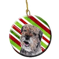 Border Terrier Candy Cane Christmas Ceramic Ornament