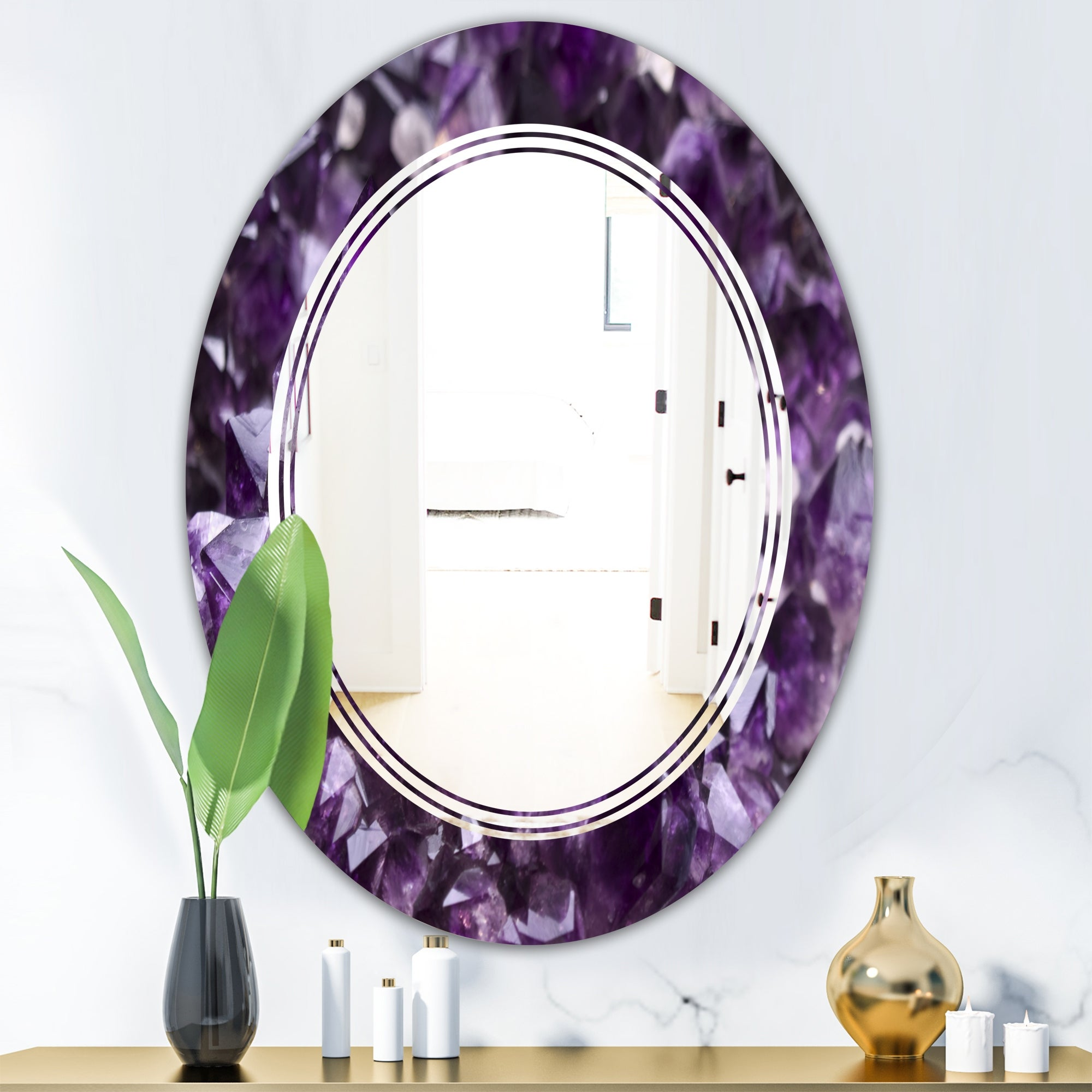 Designart Amethyst Geode Modern Round Or Oval Wall Mirror Triple C On Sale Overstock 29892719