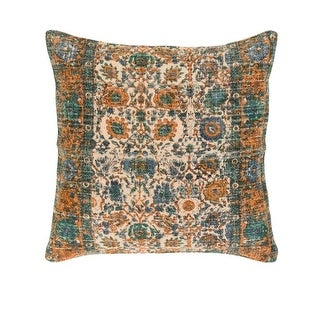 "18"" Backyard Blooms Taupe Brown and Mango Orange Decorative Square Throw Pillow - Down Filler"