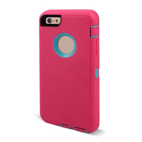 TPU 3 Layer Screen Rotary Belt Clip Phone Case Cover Magenta for iPhone 6 Plus