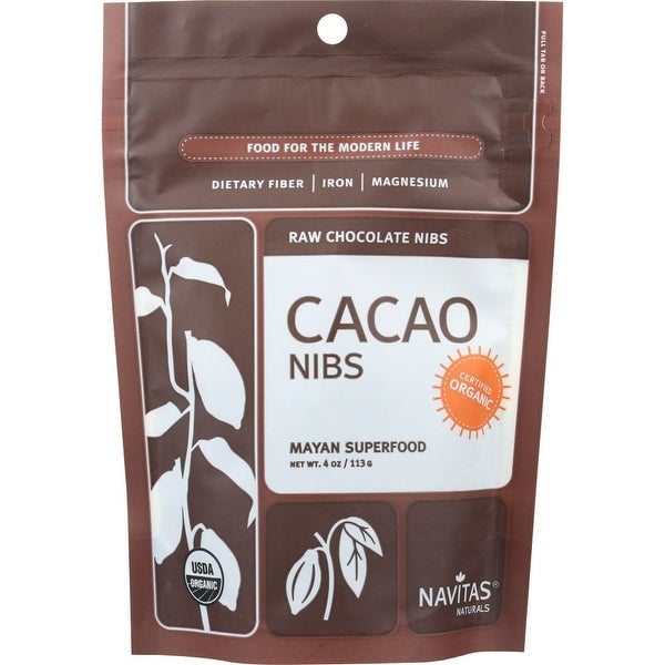 Navitas Naturals Cacao Nibs, Raw Chocolate, 4 Oz (Pack Of 12)
