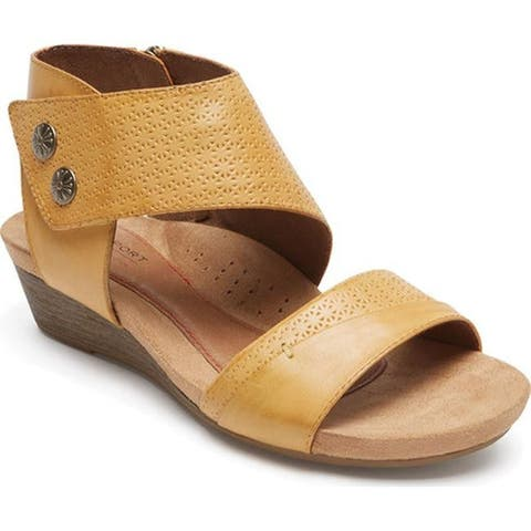 Rockport Women's Cobb Hill Hollywood 2 Piece Cuff Sandal Amber Leather