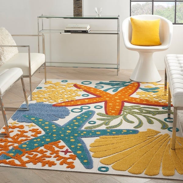 Nourison Aloha Coastal Beach Theme Starfish Indoor/Outdoor Area Rug. Opens flyout.