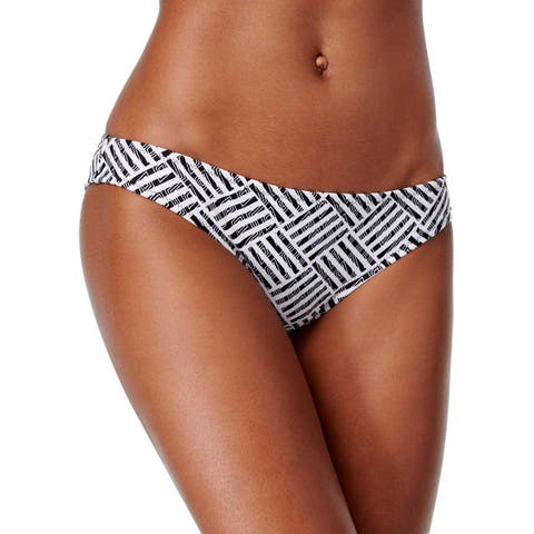 Jessica Simpson Womens Swimsuit Bikini Bottom Medium Black White Printed Ruched