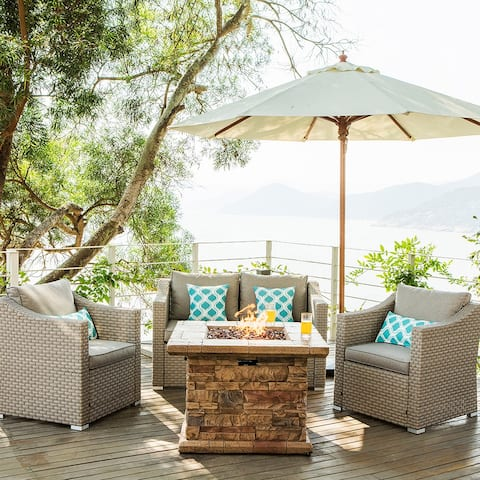COSIEST 4-Piece Wicker Conversation Set With Fire Table