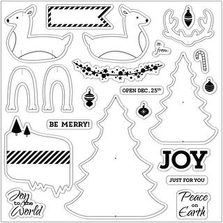 """Fiskars Clear Stamps 8""""X8""""-Holiday Party"""