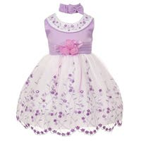 Baby Girls Lilac White Floral Jeweled Easter Flower Girl Bubble Dress 3-24M