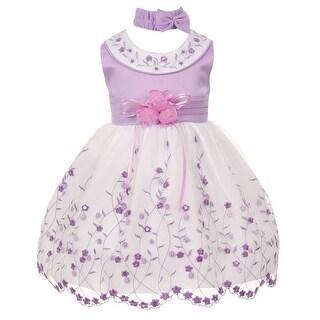 Little Girls Lilac White Floral Jewel Easter Flower Girl Bubble Dress 2-4T