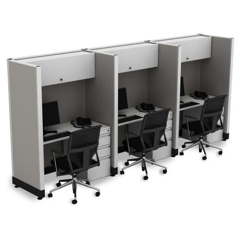 Tall Cubicles 67H 3pack Inline Unpowered