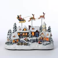 "11"" Decorative Battery Operated Musical Christmas LED Village with Moving Santa and Deer - WHITE"