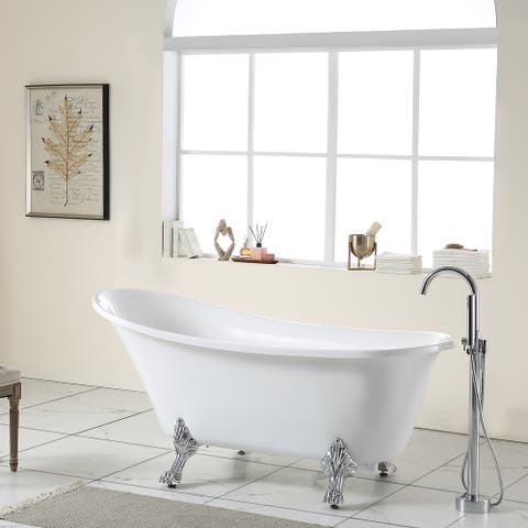 """67"""" Acrylic Clatfoot Bathtub White Oval Soaking Bathtub with Brushed Nickel Overflow and Drain"""