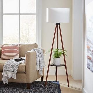 Adesso Walnut Unique Tripod Floor Lamp