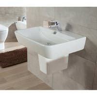 """Bissonnet 27000-27432 Emma 21-7/10"""" Semi-Pedestal Bathroom Sink Wall Mount with Single Faucet Hole and Overflow"""