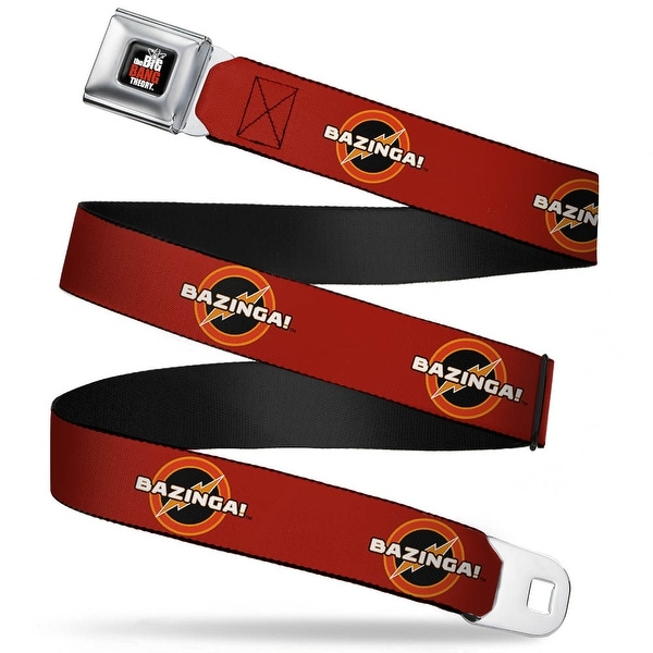 The Big Bang Theory Full Color Black White Red Bazinga! Logo Burgundy Seatbelt Belt
