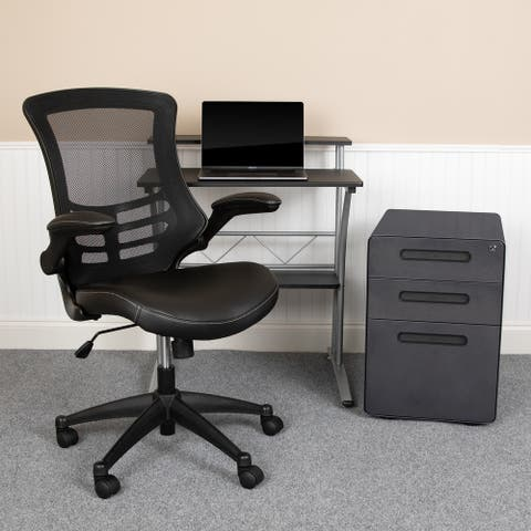 Office Set-Computer Desk, Ergonomic Mesh/LeatherSoft Office Chair, File Cabinet
