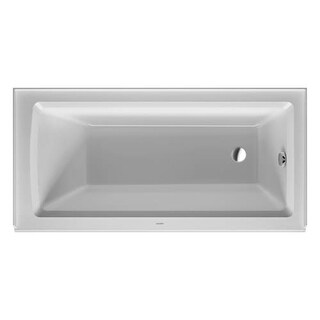 "Duravit 700355000000090 Architec 60"" Acrylic Soaking Bathtub for Alcove Installations with Front Apron and Flange and Right Hand"