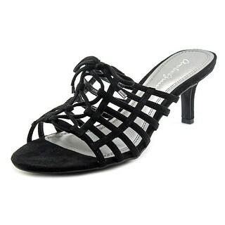 Amelia Grace Nova Women Open Toe Canvas Black Slides Sandal