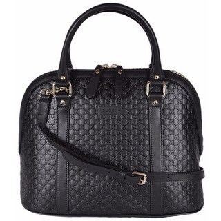 "Gucci 449663 Black Leather Medium Convertible Micro GG Dome Satchel Purse - 12"" x 10"" x 6"""
