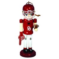 "6"" NCAA Oklahoma Sooners Football Mascot Wooden Nutcracker Christmas Ornament - RED"