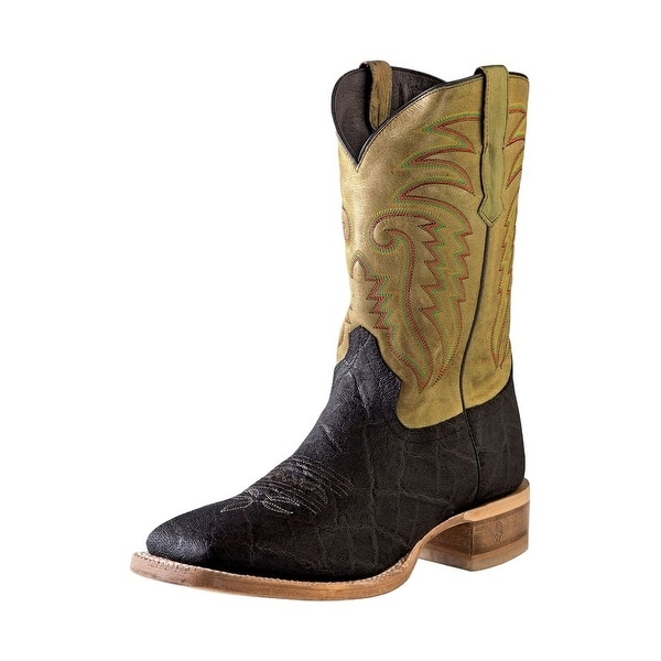 Outlaw Western Boots Mens Elephant Print Tabs Chocolate Taupe