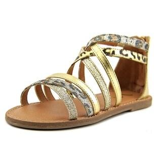 Nina Sulema Youth Open Toe Leather Gold Gladiator Sandal