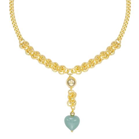 "BRONZORO 18 k Gold Overlay 17"" Jade Heart Necklace"