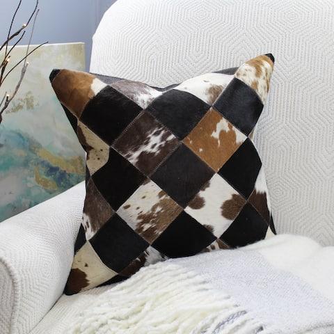 Natural Geo Black/Brown/White Geometric Diamond Throw Pillow