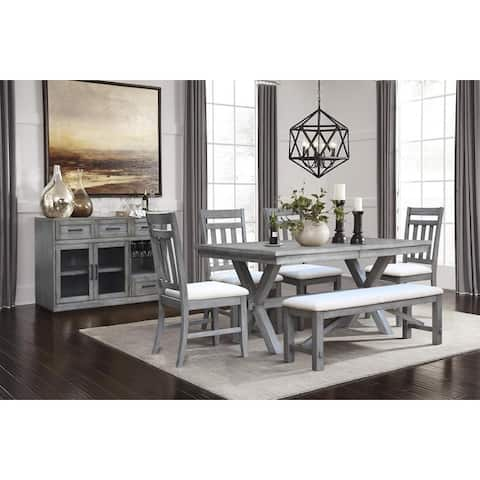"Shelter Cove Distressed 60-78"" Extension Leaf Dining Set"