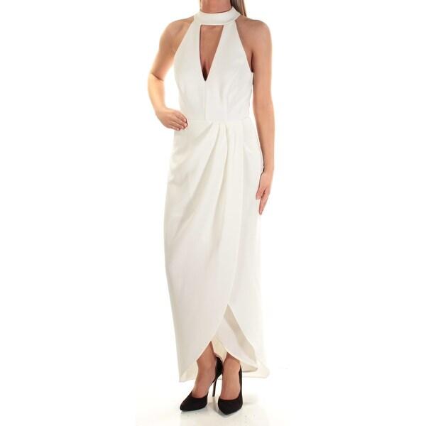 XSCAPE Womens Ivory Gathered Slitted Sleeveless Keyhole Maxi Faux Wrap Evening Dress Size: 2