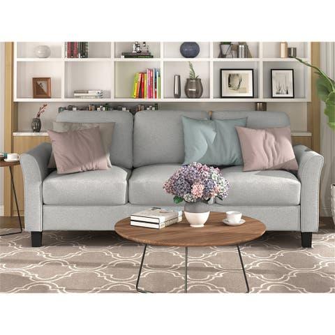 3-Seat Sofa Living Room Linen Fabric Sofa (Light Gray)