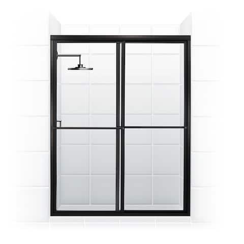 "Coastal Shower Doors 1660.70-C Newport Series 60"" x 70"" Framed Sliding Shower Door with Towel Bar and Clear Glass -"