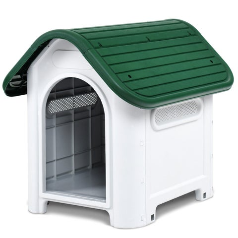 Gymax Indoor Outdoor Plastic Dog House All Weather Waterproof Puppy Pet Shelter Green