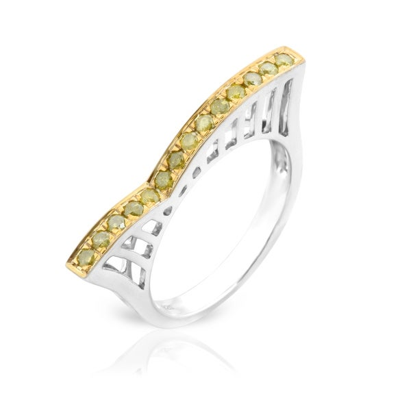 Beautiful 0.30 Carat Round Brilliant Cut Yellow Color Diamond Stylist Roller Coaster Style Ring