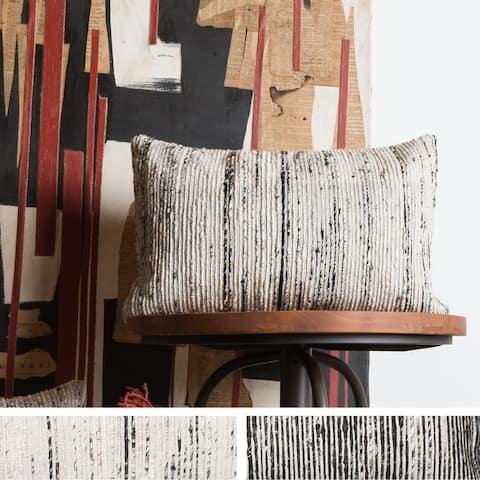 Recycled Sari Silk Stripe Rectangle Throw Pillow or Pillow Cover