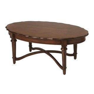 Offex Kendrick Distressed Solid Mahogany Wood Cocoa Coffee Table - Oval