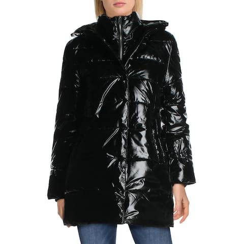 Betsey Johnson Women's Glossy Quilted Long Winter Puffer Coat - Black