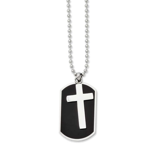 Stainless Steel Black-plated Dogtag & Polished Cross Pendant 24in Necklace (1 mm) - 24 in