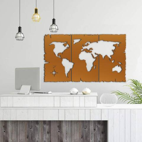 """DecorX Decoration Map World Wall - for Living Room, Kitchen, Office & Bedroom , 50"""" Wooden Wall Art Wooden Map, Wall Style"""
