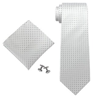 Men's Silver Grey Polka Dots 100% Neck Tie Set With Hanky 1811E