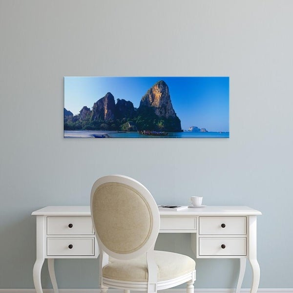 Easy Art Prints Panoramic Image 'Cliff on the beach, Railay Beach, Krabi, Krabi Province, Thailand' Premium Canvas Art