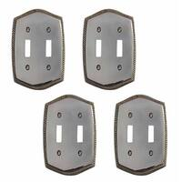 4 Switchplate Chrome 5 1/4 H Braided Double Toggle
